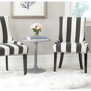 Safavieh En Vogue Dining Lester Charcoal/ White Awning Stripes Silver Nailhead Side Chairs (Set of 2)