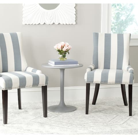 """SAFAVIEH Dining Lester Grey/ White Awning Stripes Silver Nailhead Dining Chairs (Set of 2) - 22"""" x 24.8"""" x 36.4"""""""