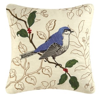 Gnatcatcher Embroidered 17 inch Throw Pillow