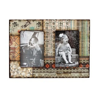 Shabby Chic Multicolor Twin Wood Picture Frame