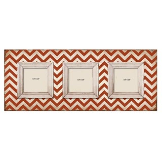 Shabby Chic Red Chevron 3-slot Wood Picture Frame