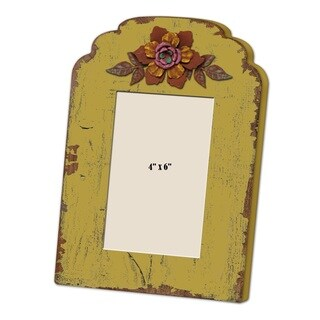 Shabby Chic Yellow Wood Picture Frame With Flower