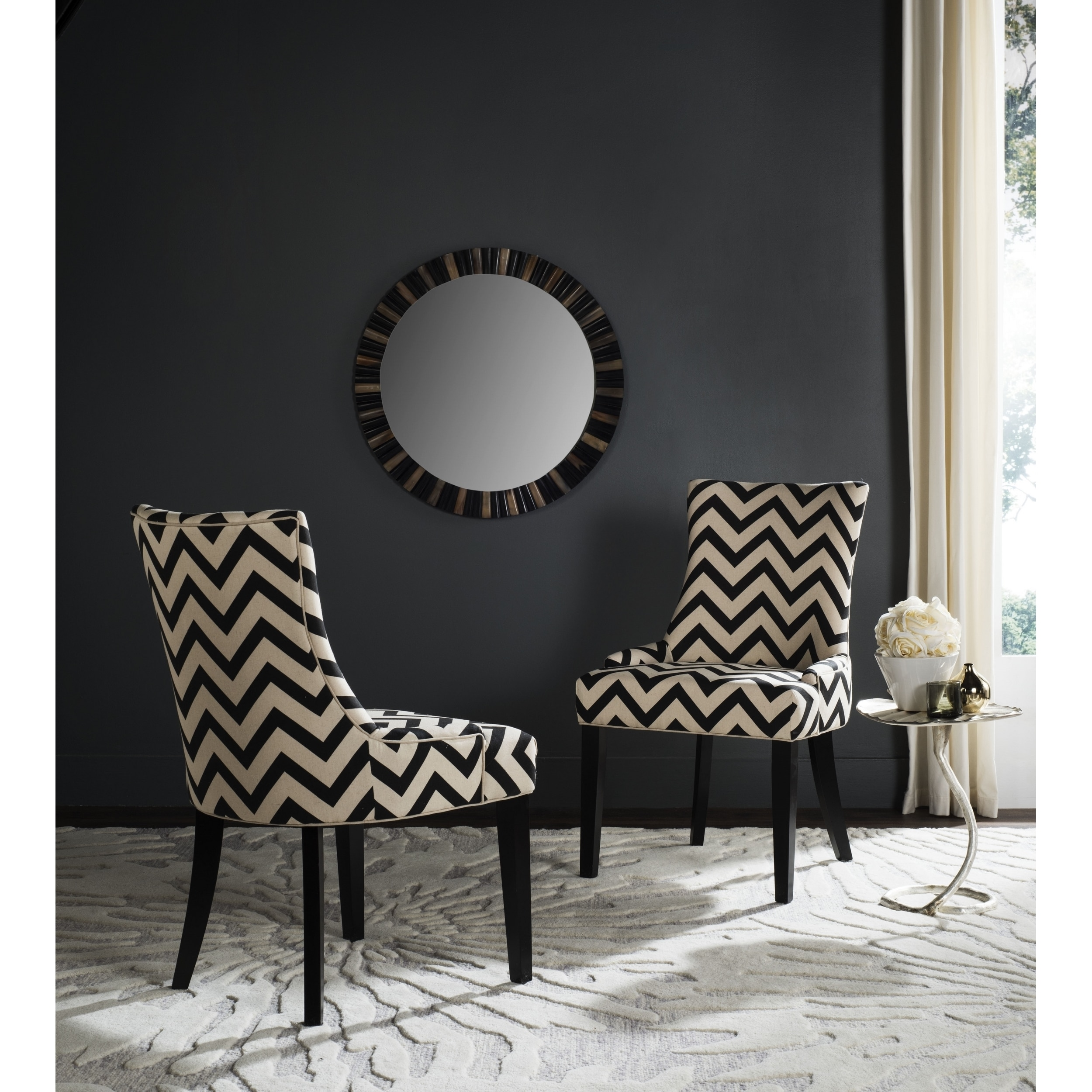 Marvelous Safavieh Dining Lester Black White Zig Zag Chevron Dining Chairs Set Of 2 Bralicious Painted Fabric Chair Ideas Braliciousco
