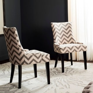 Safavieh En Vogue Dining Lester Grey / White Zig Zag Chevron Dining Chairs (Set of 2)