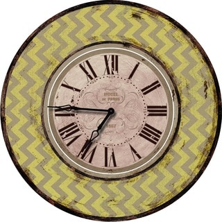Shabby Chic Yellow Chevron Wall Clock
