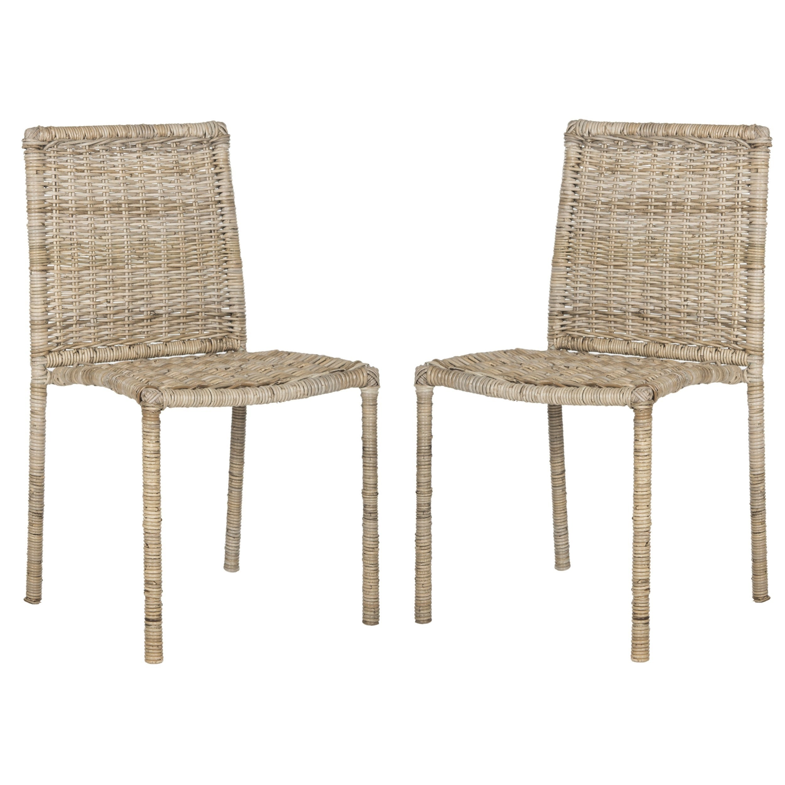 Safavieh Rural Woven Dining Makassar Grey Dining Chairs (Set of 2)