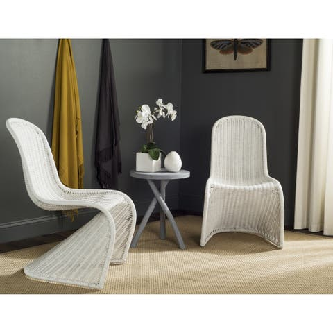 Safavieh Dining Rural Woven Tana White Wicker Dining Chairs (Set of 2)