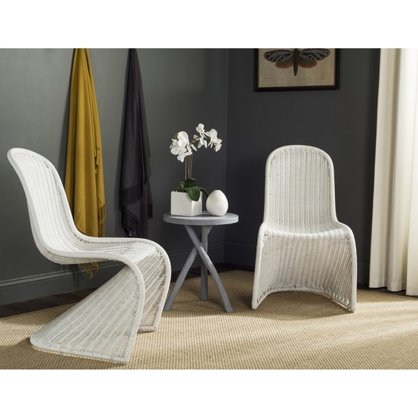Safavieh Rural Woven Dining Tana White Wicker Dining Chairs (Set of 2)