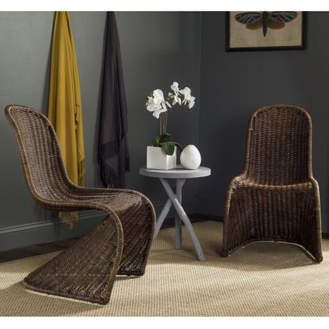 Safavieh Dining Rural Woven Tana Brown/ Multi Wicker Dining Chairs (Set of 2)