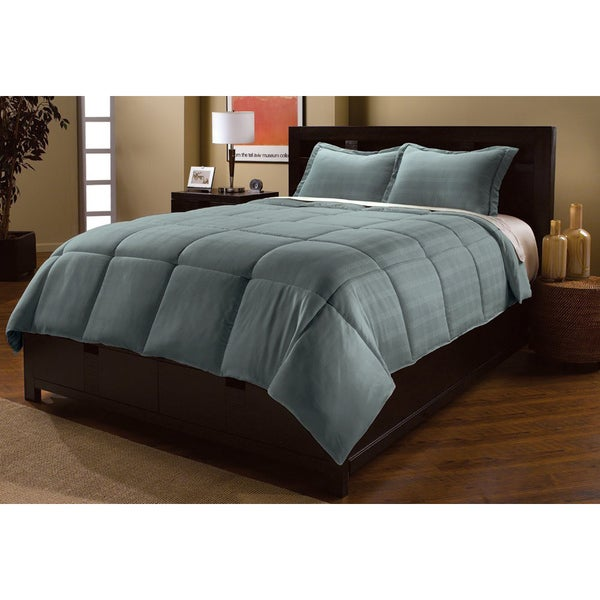 Luxlen Microfiber Dobby Plaid Down Alternative 3-piece Comforter Set