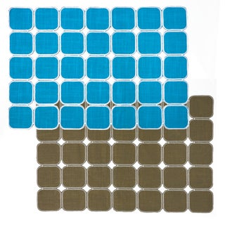 Turquoise/ Mocha Reversible Geometric Placemats (Set of 2, 4 or 6)