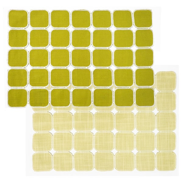 Green/ Oat Reversible Geometric Placemats (Set of 2, 4 or 6)
