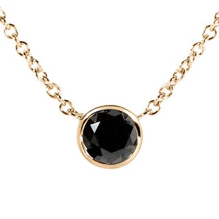 Annello by Kobelli 14k Yellow Gold 1/2ct Black Diamond Solitaire Bezel Pendant
