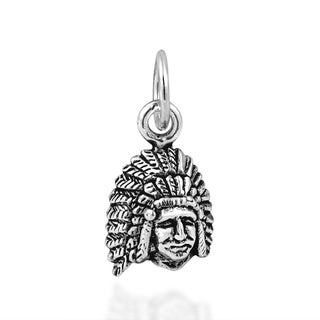 Handmade American Indian Chief Head .925 Silver Charm or Pendant (Thailand)
