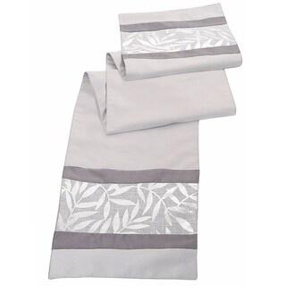 Silver Metallic Leaves Table Runner
