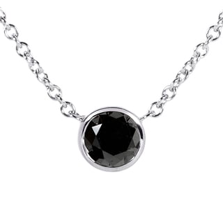 Annello 14k White Gold 1/2ct Black Diamond Solitaire Bezel Pendant