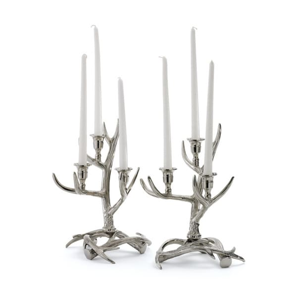 Polished Antler Metal Candelabras (Set of 2)