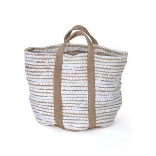 Hip Vintage White Hemp and Cotton Basket