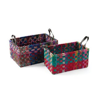 Hip Vintage Rectangle Woven Fabric Baskets