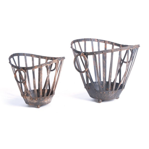 Painted Round Iron Baskets (Set of 2)