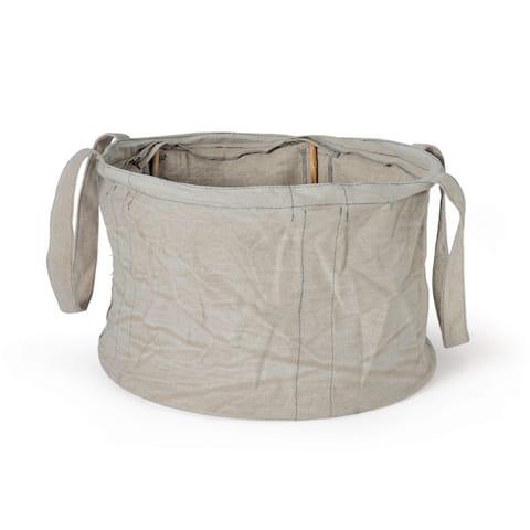 Grey Round Cotton Storage Basket