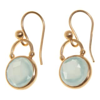 Artisan-made Gold-plated Sterling Silver Round-cut Gemstone Dangle Earrings (India)