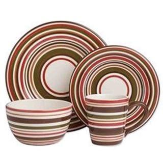 TAG Sonoma Dinnerware Collection Celadon Stripe 16 pc