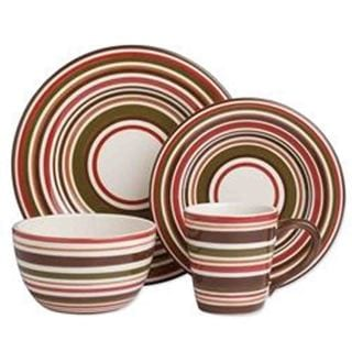 TAG Sonoma Dinnerware Collection Chocolate Stripe 16 pc