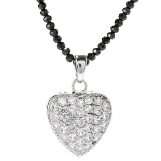Sterling Silver Heart Gemstone and Black Spinal Pendant Necklace