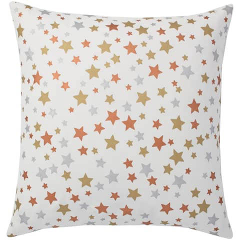 Andrew Charles Snow Leopard 20-inch Star Print Throw Pillow