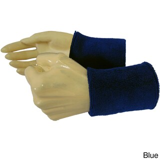 Couver Premium Quality Wrist Sweatband - Solid Cotton Terry Colth Sports Athletic Tennis Wristband (Option: Blue - Cotton)