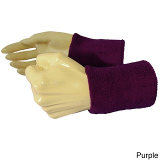 Couver Premium Quality Wrist Sweatband - Solid Cotton Terry Colth Sports Athletic Tennis Wristband (Option: Purple - Cotton)