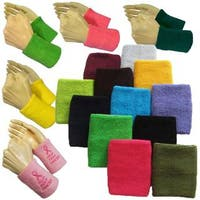 Couver Premium Quality Wrist Sweatband - Solid Cotton Terry Colth Sports Athletic Tennis Wristband