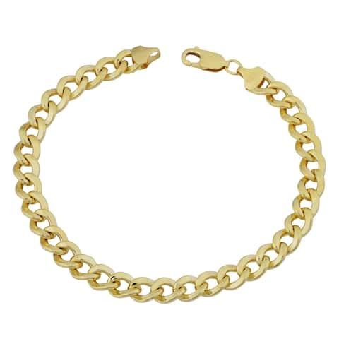 Fremada 14k Yellow Gold Filled 7.4mm High Polish Miami Cuban Curb Link Men's 9-inch Chain Bracelet