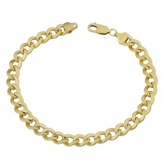 Fremada 14k Yellow Gold Filled 7.4mm High Polish Miami Cuban Curb Link Men's 9-inch Chain Bracelet