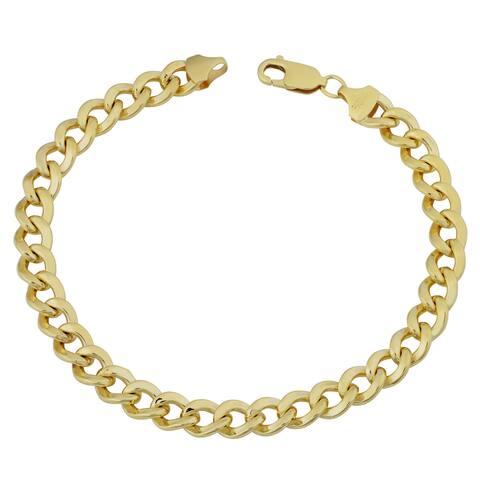 Fremada 14k Yellow Gold Filled 9mm High Polish Bold Men's Miami Cuban Curb Link 9-inch Chain Bracelet