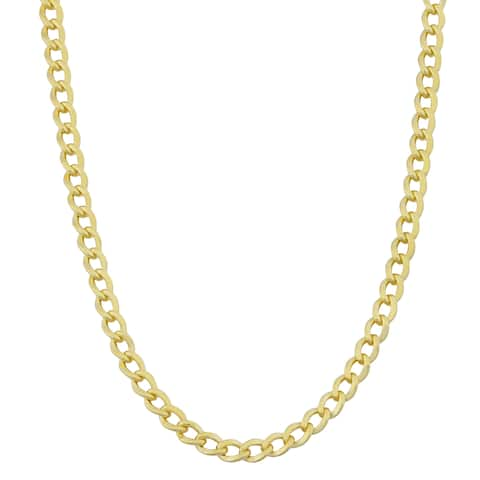 Fremada 14k Yellow Gold Filled 3.2mm High Polish Miami Cuban Curb Link Chain Necklace