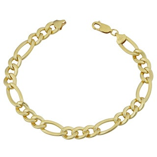 Fremada Yellow Gold Filled Men's 8.8-mm High Polish Figaro Link Bracelet (9 inches)