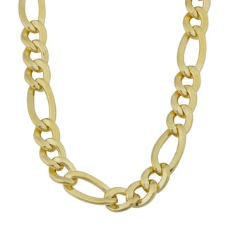 Fremada 14k Yellow Gold Filled Men's 8.8mm High Polish Solid Figaro Link Necklace