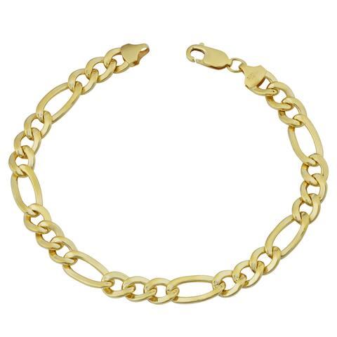 Fremada 14k Yellow Gold Filled Men's 7.7-mm High Polish Figaro Link Bracelet (9 inches)