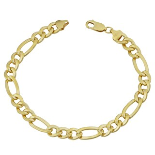 Fremada 14k Yellow Gold Filled Men's 7.7-mm High Polish Figaro Link Bracelet (9 inches)