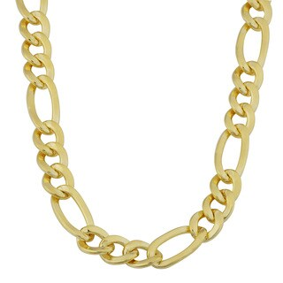 Fremada 14k Yellow Gold Filled Men's 7.7mm High Polish Solid Figaro Link Necklace