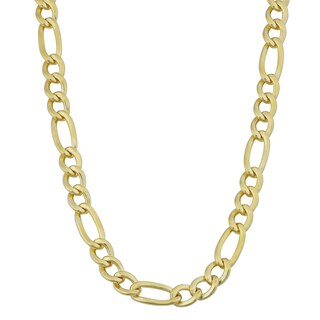 Fremada 14k Yellow Gold Filled Men's 5mm High Polish Solid Figaro Link Necklace (5 options available)