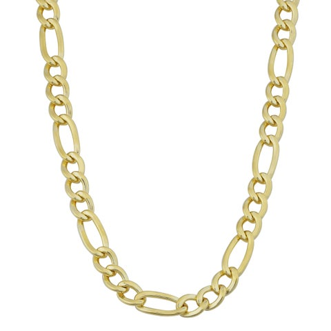 Fremada 14k Yellow Gold Filled Men's 5mm High Polish Solid Figaro Link Necklace