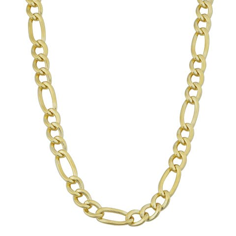 14k Yellow Gold Filled Mens High Polish Solid Figaro Link Necklace (5 millimeter)