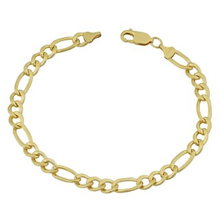 Fremada 14k Yellow Gold Filled Men's 6.2-mm High Polish Figaro Link Bracelet (8.5 inches)