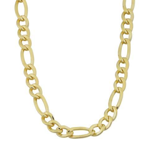 14k Yellow Gold Filled Men's High Polish Solid Figaro Link Necklace (6.2 millilmeter)