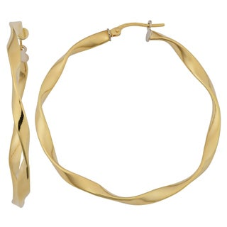 Fremada 18k Yellow Gold Italian 3x40-mm Twist Design Bold Hoop Earrings