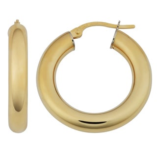 Fremada 18k Yellow Gold Italian 4x15-mm High Polish Hoop Earrings