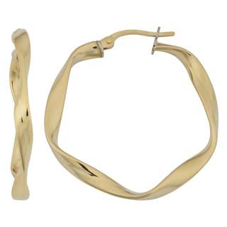 Link to Fremada 18k Yellow Gold Italian 3x25-mm High Polish Twisted Hoop Earrings Similar Items in Earrings